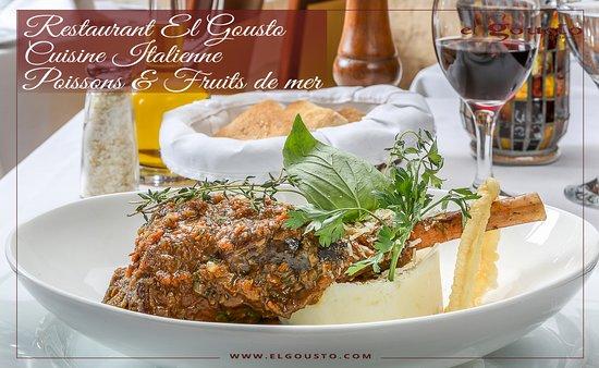 Souris d'agneau cuit au four à bois servis avec purée de pommes de terres et ça sauce tomate aux fines herbes proposé par notre chef cuisinier Experience luxury with El Gousto Restaurant