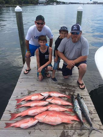 A nice limit of red snapper and a couple of kings
