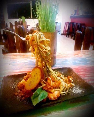 we have seafood spaghetti!