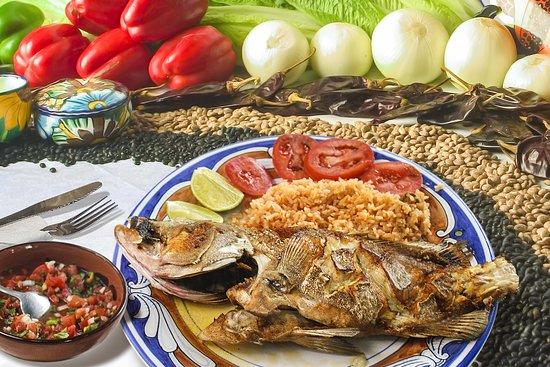 OLÉ OLÉ OLÉ FISH  Fresh catch whole fish fried & served w/ rice, beans, pico de gallo salsa, limes & tortillas