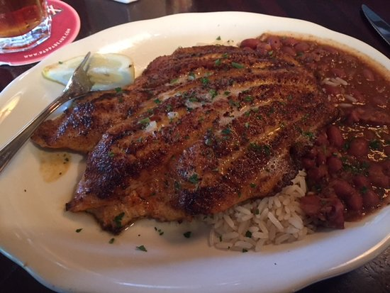 Pappadeaux Seafood Kitchen: Blackened Tilipia with red beans and rice