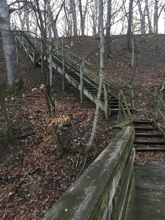 Argyle Lake State Park: Large wooden staircases
