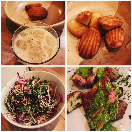 Brandy Milk Punch, Madeleines, Cabbage Salad & Pork with Roasted Potatoes