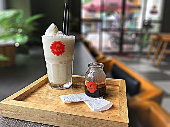 Special coconut coffee - Cà phê dừa đặc Biệt nổi tiếng của E-Coffee Việt Nam