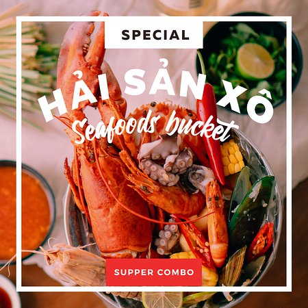 #seafood_bucket - just with vnd 1890k you can have our signature super combo with variety kinds of seafood: Canadian lobster, prawn, mantis shrimp, crab, octopus, mussels, clams, corn, potato, sauage...and you choose sauce and spicy level