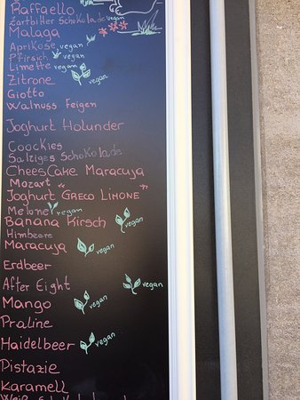 Bella Gelato Italiano: list of flavours
