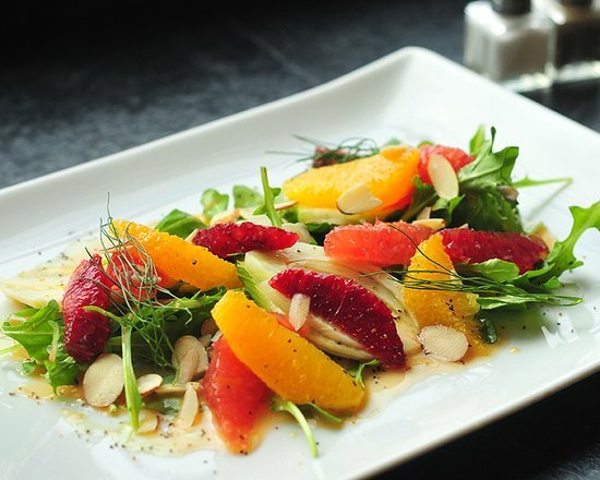 Williamstown, MA: Winter Citrus Salad w/ Blood Orange, Grapefruit, Orange, Fennel, Arugula, Almonds, & Honey Black Pepper Vinaigrette