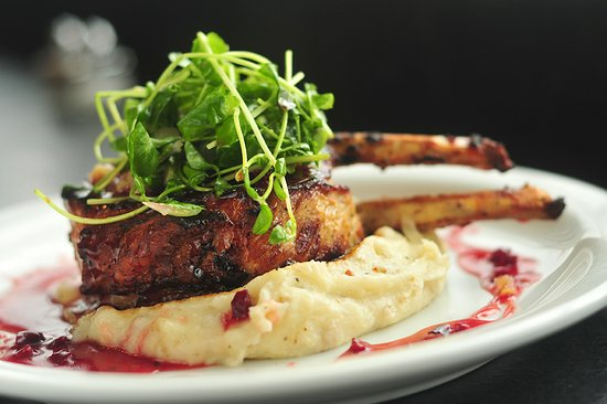 Williamstown, MA: Double Pork Chop w/ Mashed Yukon Potatoes, Micro Green Salad, Maple Dijon