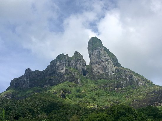Mount Otemanu: See actual Sacred Cave in center or photo.