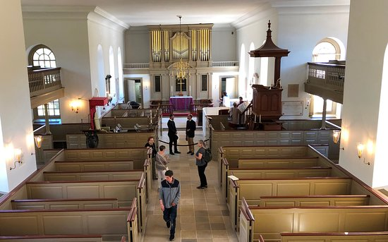 April 7, 2019  Services have resumed in the church.  The new organ case looks splendid.