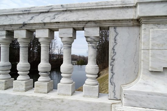 Look at the intricate stone work; looking down stream towards dam