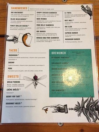 Ode Brewing Company: Food Menu