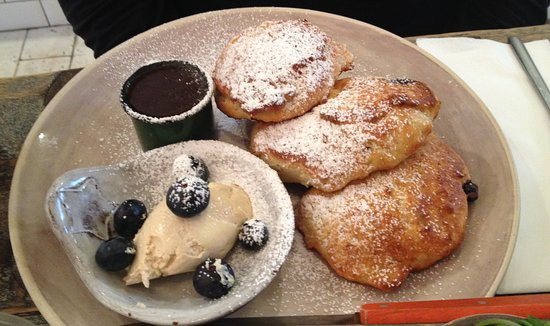 Angie's Little Food Shop: Blueberry Hotcakes with espresso marscapone & warmed cinnamon sauce - I cannot stress how fantastic this dish is, you have to try it.
