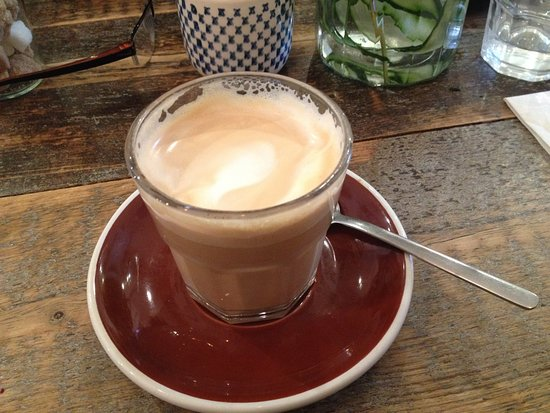 Angie's Little Food Shop: Latte - coffee was excellent, strong yet smooth, with thick and creamy frothy milk.