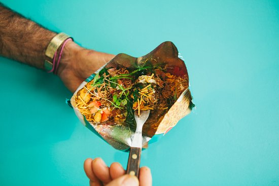 CHIT CHAAT IN A BAG - POTATO STRINGS, MAHARAJAN BEEF, PUFFED RICE, GREEN CHUTNEY, PEANUT