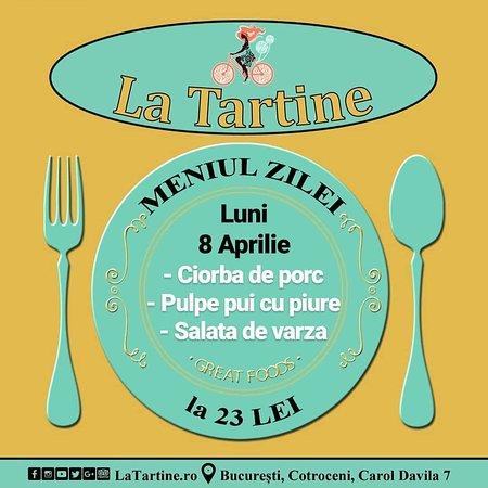 Începem o nouă săptămână și 🍴 de la ora 12:00 vă așteptăm #LaTartine #Cotroceni cu #MeniulZilei (#Luni, 8 #Aprilie) la 23 lei: - Ciorba de porc - Pulpe pui cu piure - Salata de varza * în limita stocului disponibil   P.S. nu ratați cele mai delicioase #tartine și #FructeDeMare #LaTartineCotroceni #Bucuresti  P.S. 2 Lunea nu avem #pizza