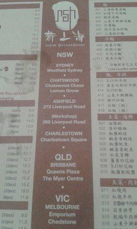 New Shanghai (Queens Plaza, Brisbane) - dirty (greasy stains) menu