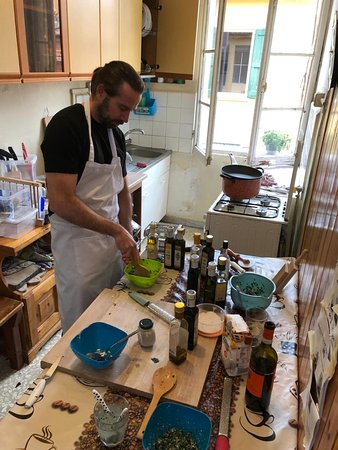 Creating our own unique pasta fillings.