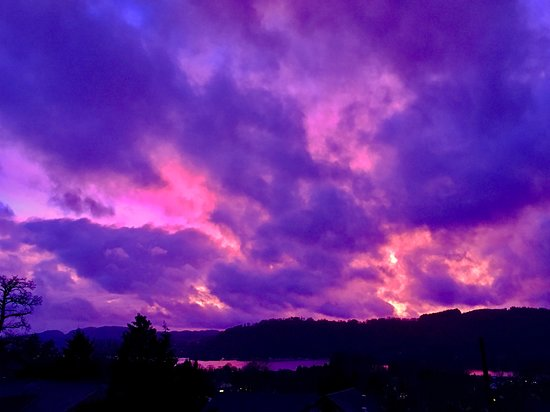 A striking sunset view over Lake Windermere snapped from The Coniston, Blenheim Lodge B&B.