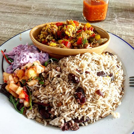 Salt fish and ackee, rice n peas, apple salsa and sunshine in a coleslaw
