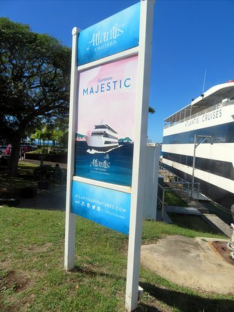dockside sign for the Majestic of Atlantis Cruises