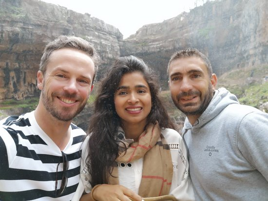 A special trip to the waterfalls of Batara North Lebanon with the most beautiful duet from India and Britain