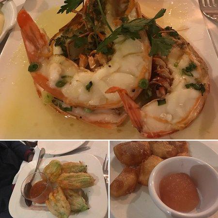 Grilled Prawns, Fried Zucchini, and Apple Beignet