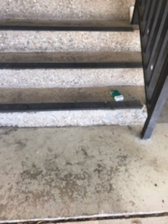 Steps with cigarette packs and butts