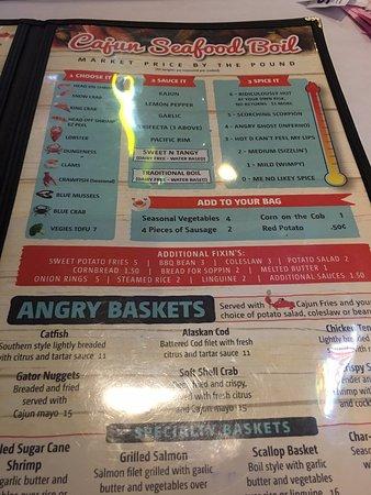 Angry Crab Happy Valley: Menu