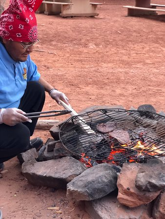 Dreamcatcher Evening Experience in Monument Valley: Jamie throws on the steaks onto the grill