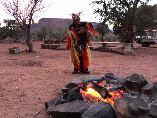 Dreamcatcher Evening Experience in Monument Valley: Jamie performing the Native American grass dances