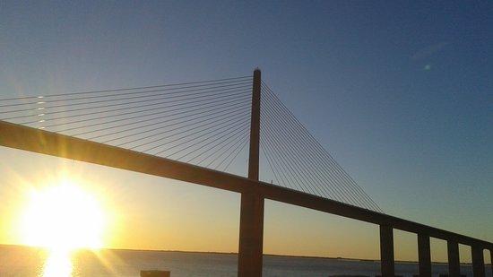 Norwegian Pearl: The Pearl approaching the Sunshine Skyway Bridge