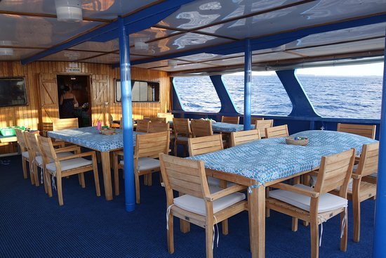 Bilikiki's covered diving deck offers spectacular views of the Solomon Islands while eating great food or relaxing between dives