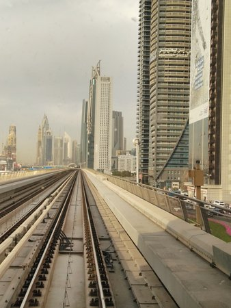 View from the  metro train window. Dubai