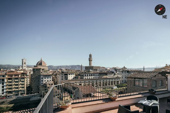 Pitti Palace al Ponte Vecchio: View from Queen Suite 360°. Immerse yourself in the 360° panorama of Florence.