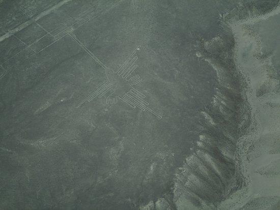 """Peru: Снимок с самолета, пустыня Наска, фигура """"Колибри"""""""