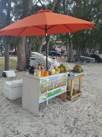 fresh coconut drinks   Location: Goodman's bay beach.  Yes we're on the Beach!