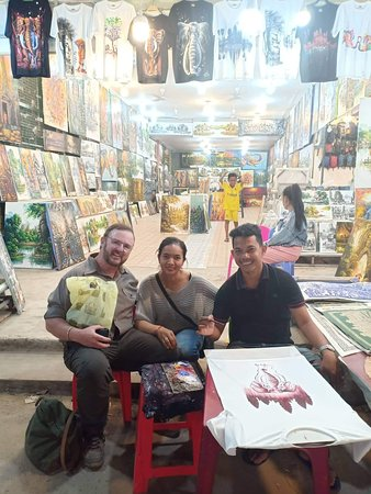 Me with Priem Samon and her husband Sombo, the artist in front of their store