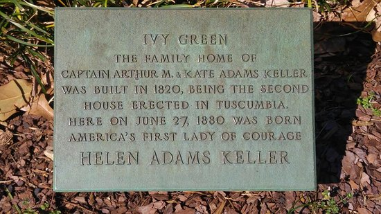 Helen Keller Birthplace: Ivy Green plaque