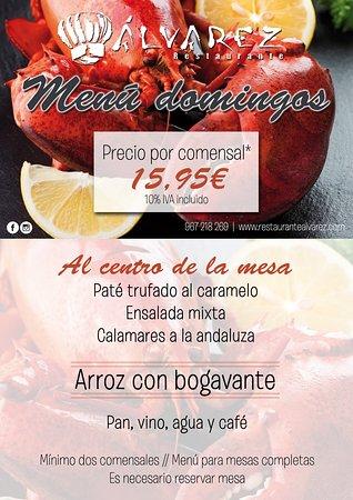 Menú especial para los domingos en Restaurante Álvarez con arroz con bogavante
