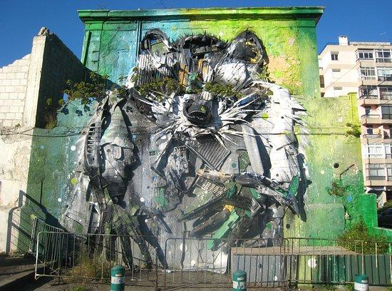 Bordalo II's Big Raccoon Sculpture