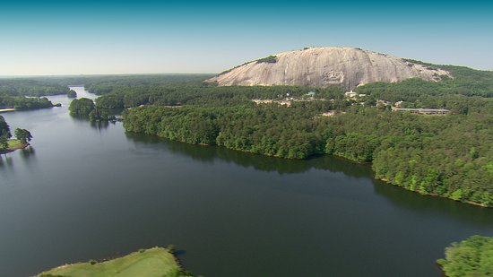 Ariel photo of Stone Mountain and Stone Mountain Lake.