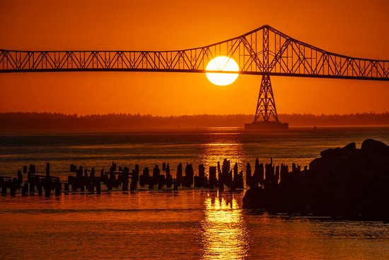 Astoria-Megler Bridge from Astoria side at sunset.