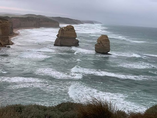 Full-Day Great Ocean Road and 12 Apostles Sunset Tour from Melbourne: This is a different Apostles rock formation we saw.