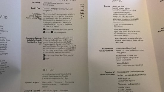 British Airways: Busines class menu