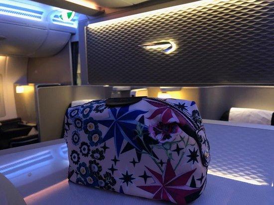 British Airways: New First class wash bag on board BA