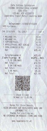 Schlosscafe Schonbrunn: Deftige Rechnung