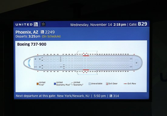 Ua2249 Den To Phx 737 900 Gate B29 Monitors Seating Chart And A