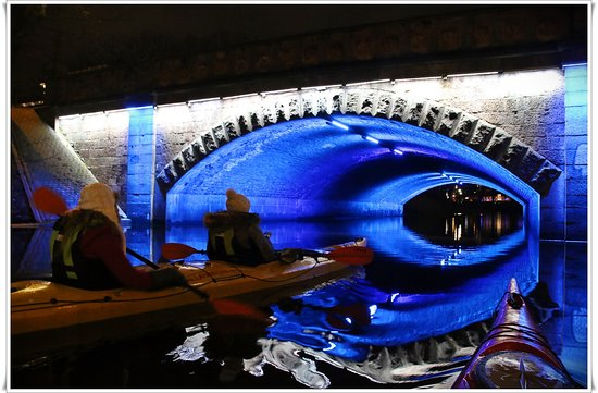 City Canal near National Theater - kayaking in Riga at night with LAIVINIEKS LV. Spring, 2019