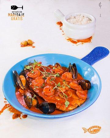 Cortés: ¡Pide tu menú de pascua y pesquera del mar te invita el maridaje de tu plato!  Pesca del día en salsa napolitana, #camarones, #mejillones y #arroz blanco!